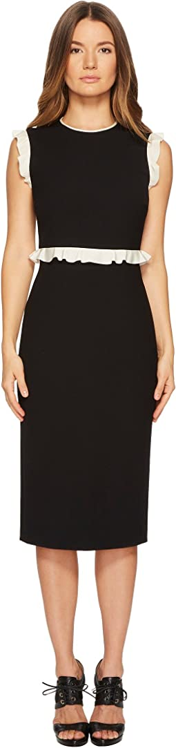 RED VALENTINO - Cady Tech Dress with Contrast Crepe De Chine Ruffle