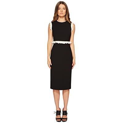 RED VALENTINO Cady Tech Dress with Contrast Crepe De Chine Ruffle (Black/Ivory) Women