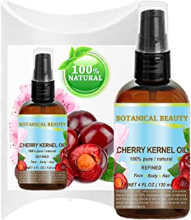 CHERRY OIL Prunus Avium 100% Pure Natural Refined CARRIER OIL (NOT ESSENTIAL OIL) for Face, Body, Feet, Hair, Massage and Nail Care. 4 Fl. oz- 120 ml. Botanical Beauty