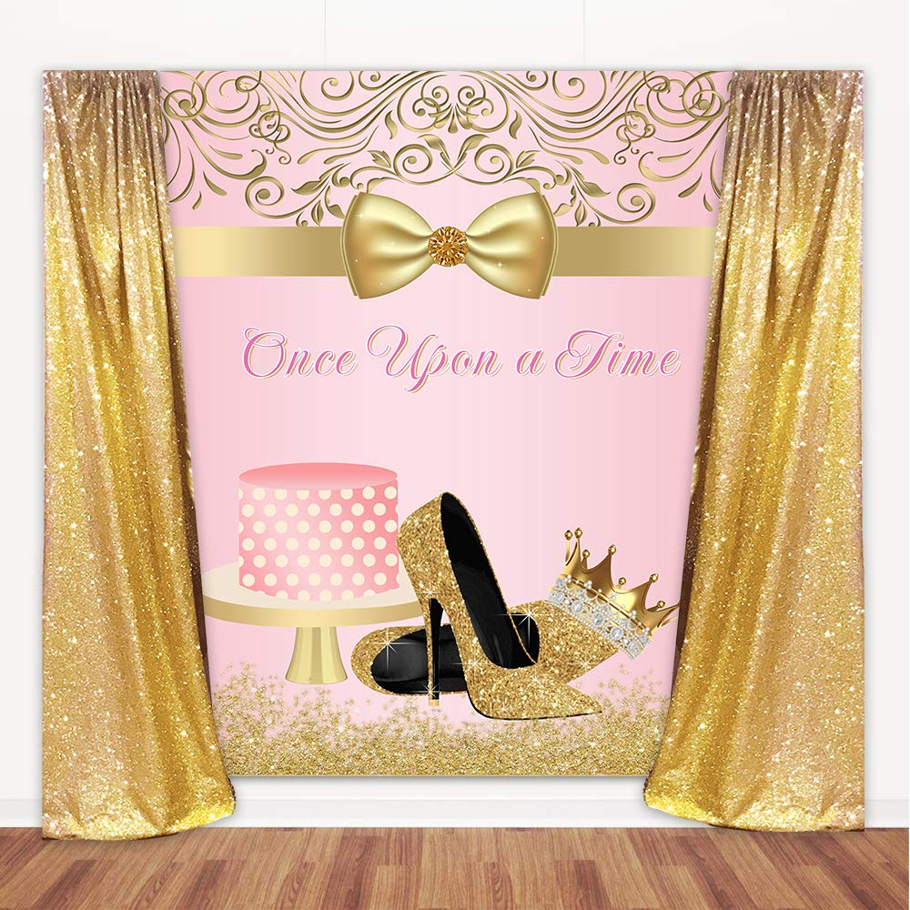 Amazon Com Mehofoto Once Upon A Time Birthday Backdrop Pink Gold High Heel Photography Background 5x6ft Vinyl Girl S Once Upon A Time Birthday Party Banner Decoration Camera Photo