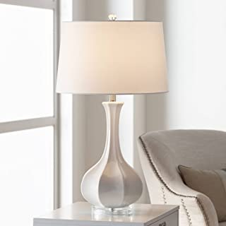 Aurion Coastal Table Lamp Fluted Ceramic Gourd White Drum Shade for Living Room Family Bedroom Bedside Nightstand - Possini Euro Design
