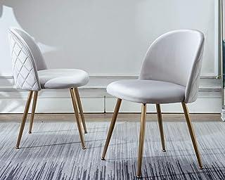 CIMOTA Velvet Upholstered Dining Chair, Modern Armless...