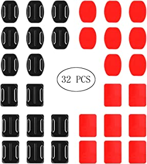EVERMARKET 32 Pieces Helmet Adhesive Pads Sticker - 16 Curved and 16 Flat Mounts for GoPro Hero 7 6 5 4 3+ 3 2 SJ4000 5000...