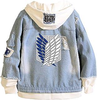 EMLAI Men's Hoodie Attack on Titan Denim Jacket Long Sleeve Anime Manga Cosplay Pullovers Sweatshirts For Teen Adult
