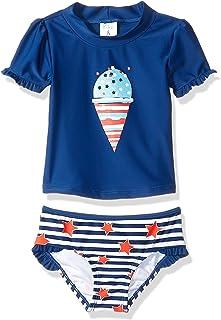 KIKO & MAX Conjunto de Traje de baño para niña con Manga Corta Rashguard Swim Shirt