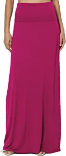 S~3XL Women's Casual Lounge Solid Draped Jersey Relaxed Long Maxi Skirt