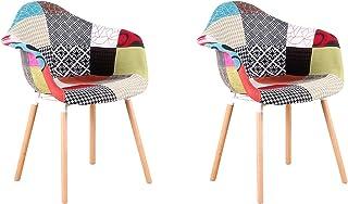 Juego de 2 sillones de Retazos Multicolores Tela de Lino sillas de Esquina para Sala de Estar de Ocio sillas de recepci...