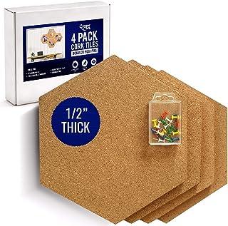 "Cougar Cork Hexagon Cork Board Tiles - Extra Large Cork Tiles - 1/2"" Thick- Bonus Push Pins - Ultra Strength Self Adhesive Backing - 4 Pack"