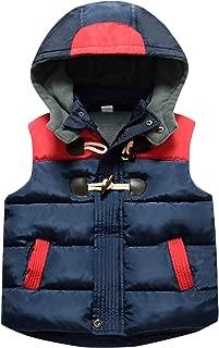 Happy Cherry Kids Winter Vest Detachable Hooded Horn Button Zipper up Puffer Padded Waistcoat