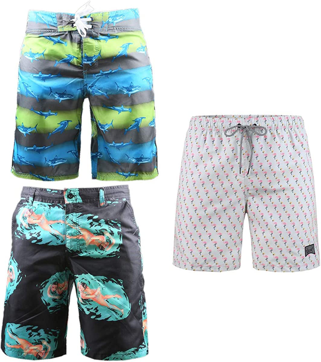 Beautiful Giant 3-Pack Men's Board Shorts with Pockets Casual Beach Surfing Loose Waterproof Swim Shorts