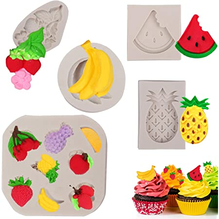 Banana pineapple orange kiwi slice Mold Food safe mold  for fondant chocolate  candy mints flexible mold fruit mold polymer clay mold