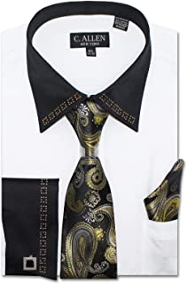 Men's Regular Fit French Cuffs Jewelry on Satin Collar Metal Fabrication Dress Shirts with Tie Hanky Cufflinks Combo