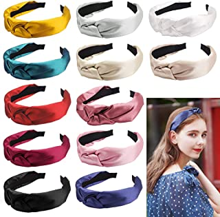 Araluky 12 Pieces Silk Headbands Knot Headband Wide Headbands for Women Knotted Headbands for Women Wide Hairbands Elastic Hair Accessories for Young Ladies 12 Colors