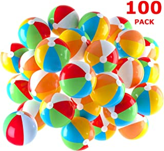 Inflatable Beach Balls 5 inch for The Pool, Beach, Summer Parties, Gifts and Decorations   100 Pack Mini Blow up Rainbow Color Beach Balls (100 Balls)
