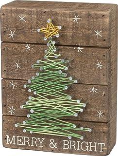 Primitives by Kathy Slat String Art Box Sign, Merry & Bright