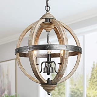 KSANA Orb Chandelier, Farmhouse Wood Chandeliers for Dining Rooms in Rustic Wood and Hand-Painted Black Metal Finish, W15.7