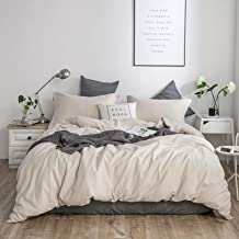 """Simple&Opulence French Linen Duvet Cover Set - Queen Size(88"""" x 92"""")- 3 Pieces (1 Comforter Cover,2 Pillowcases)- Natural ..."""