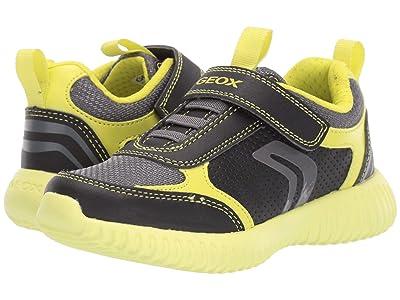 Geox Kids Jr Waviness 12 (Little Kid) (Black/Lime) Boys Shoes
