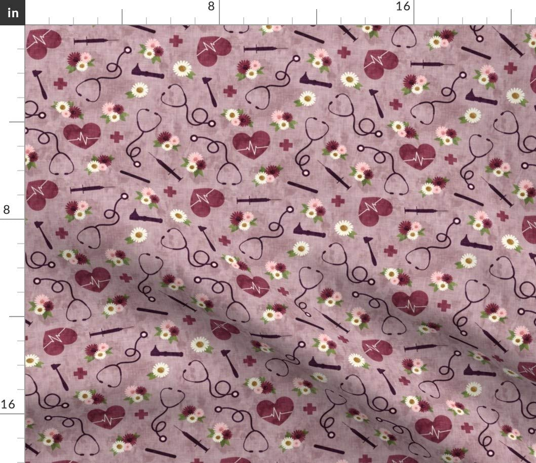 Ranking TOP4 Spoonflower Fabric - Floral Nurse low-pricing Mauve Nursing Heart Doctor Med