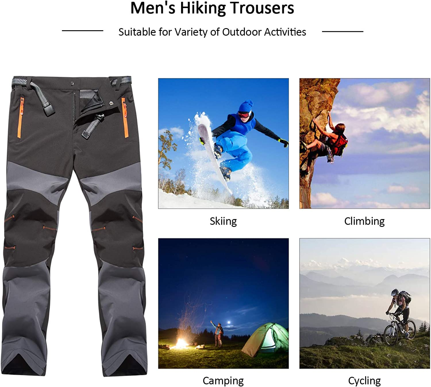 Men Soft Outdoor Casual Pants Walking Camping Hiking Zipper Trousers Breathable