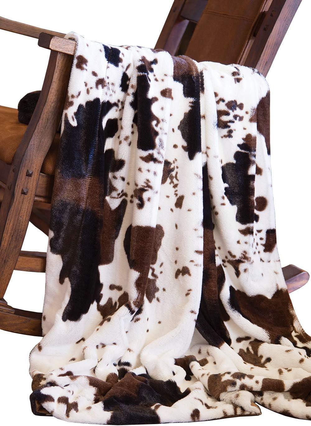 North End Decor Faux Fur Cowhide overseas Blankets Plush Lar unisex 50x60 Throw