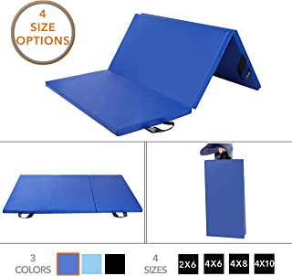 Folding Gymnastics Gym Mat by D1F for Workout Equipment, Routines – 4 Sizes in 3 Colors Available - High-Density Foam, Exercise, Yoga, Gymnastics, Crossfit, Aerobics, Tumbling Mats for Home, Foldable