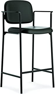 basyx by HON HVL636 Soft Thread Leather Cafe-Height Stool with Fixed Arms for Office or Computer Desk, Black, Set of 2