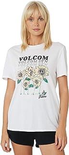 Volcom Women's Womens New Future Bf Tee Crew Neck Short Sleeve Cotton Soft White
