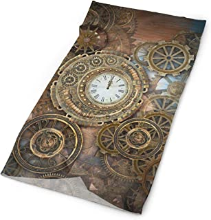 Rusty Steampunk With Clock And Different Kinds Of Gears Elastic Seamless Bandana Versatile Sports & Casual Headwear 9.8x19.7inch