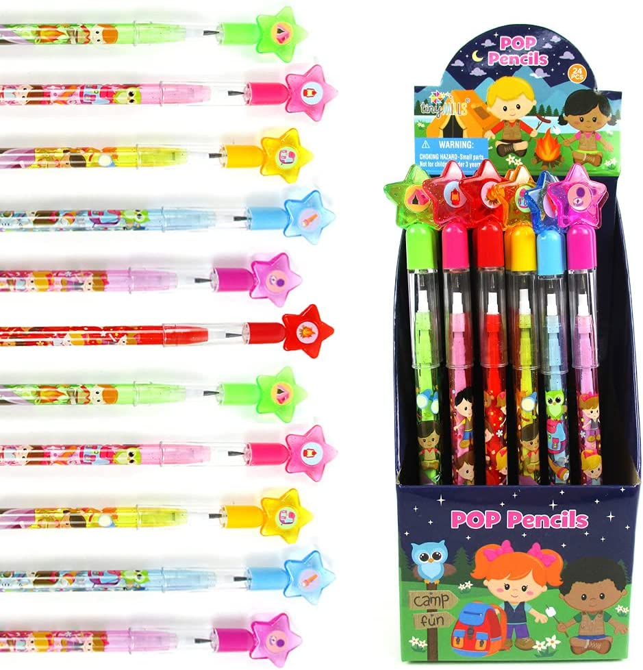 TINYMILLS 24 Pcs Las Vegas Mall Camping Multi Stackable Assor Push Point Be super welcome Pencil