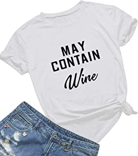 Mom's care May Contain Wine T Shirt Women' s Letter Print Funny Wine Lovers T-Shirt Short Sleeve Tops