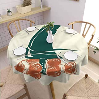 Fabric Round Tablecloth Shark Pop Art Clown Fish with Fin Buffet Table Holiday Dinner Picnic D63