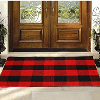 """Buffalo Plaid Rug - YHOUSE Checkered Indoor/Outdoor Door Mat Outdoor Doormat for Front Porch/Kitchen/Laundry Room Welcome Layered Mat (23.6""""X35.4"""", Red and Black Plaid)"""
