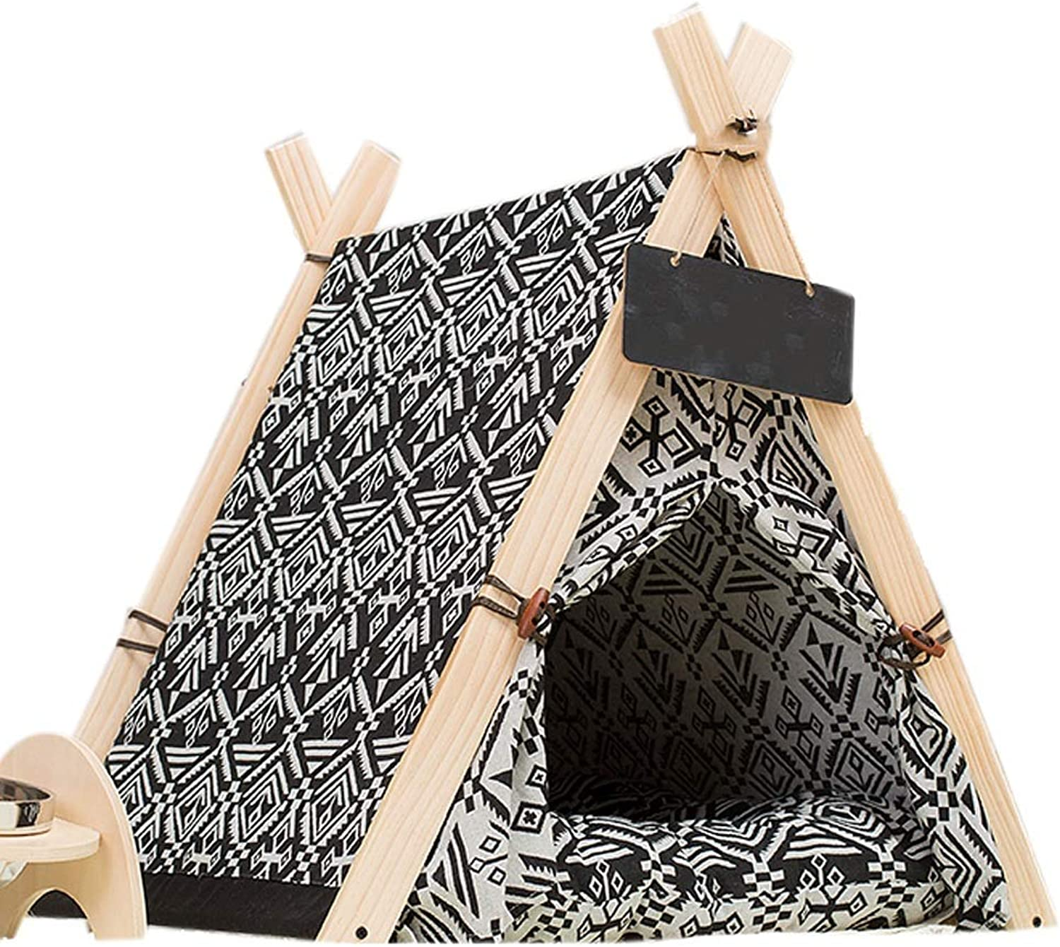 LiRongPing Cat, kennel, washable, pet house, small dog, dog and dog tent, dog supplies, warm in autumn and winter (color   BLACK, Size   S)