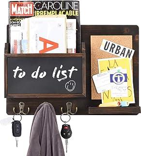 Urban Deco Mail Organizer Wall Mount Mail Sorter with 6 Key Hooks, Chalkboard and Corkboard...