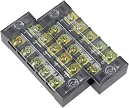 uxcell 2 Pcs 5 Positions Dual Rows 600V 25A Cable Barrier Block Terminal Strip TB-2505L