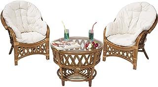Rotin Design Rebajas : -49% Conjunto terraza Hold de ratán: 2 sillones y una Mesa