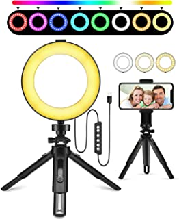 Auriani 6 inch Selfie Ring Light Kit, Dimmable Adjustable RGB LED Ring Light with Tripod Stand and Cell Phone Holder for Makeup, Selfies, Youtube, Vlog & Live Streaming, fit Smartphone and DSLR Camera