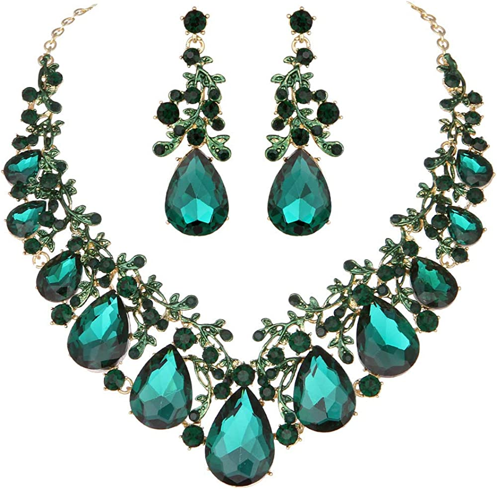 Youfir Austrian Crystal Leaf Statement Wedding Necklace and Earrings Jewelry Sets for Women Formal Dress