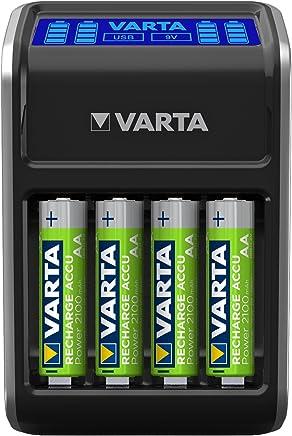 Varta LCD Plug Ladegerät (für AA/AAA/9V und USB-Geräte, inkl. 4x AA 2100 mAh) schwarz