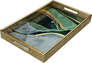 Serving Tray –Coffee Table Tray –Elegant Decorative Tray –PS and Printed Glass Table Tray –Practical and Sturdy Design–Easy t
