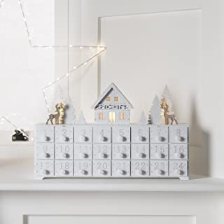 Lights4fun, Inc. Pre Lit White Wooden Christmas Advent Calendar Decoration with Drawers