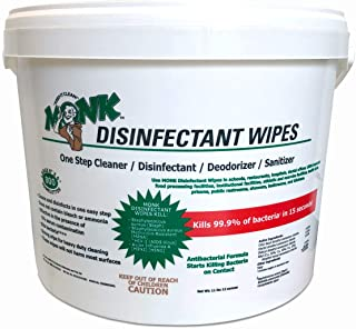 Monk Disinfecting Gym Wipes, One Step Cleaner, Disinfectant, Deodorizer and Sanitizer, 1 Bucket of 800 Count Wipes, Great for Fitness Equipment, Yoga Mats, Dance Studios, Spinning Classes and More