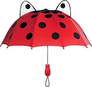 Kidorable Red Ladybug Umbrella for Girls w/Fun Ladybug Handle, Pop-Out Eyes, Polka Dots