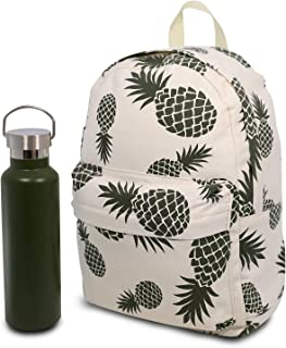 Pineapple Backpack & Water Bottle Gift Set. Green and White Canvas Backpack with Matching Water Bottle for Women or Girls to Keep her Organised and Remind Her of Summer Holidays