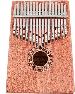 HelloCreate 17 Teclas Kalimba Pulgar Piano Instrumento Musical de Madera con Libro de Aprendizaje Tune Hammer (Color Madera)