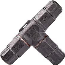 LEBRIGHT T Forma Caja de empalmes de plástico de Impermeable 3 Polos PVC para Cable de Diámetro Ø5mm - 10 mm (Negro,IP67?PVC)