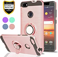 ZTE Blade X Z965 Case with HD Screen Protector,Ymhxcy 360 Degree Rotating Ring & Bracket Rubber Dual Layer Shock Bumper Resistant Back Cover for ZTE Blade X Z965-ZH Rose Gold