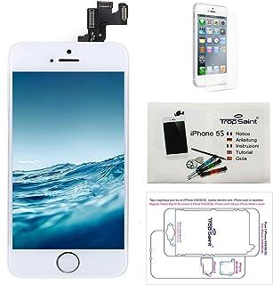 Trop Saint® Pantalla para iPhone 5S Blanco - Kit de reparación LCD Completo - con Guía 5 lenguas, Superficie de Trabajo magnética, Herramientas y Film Protector Pantalla