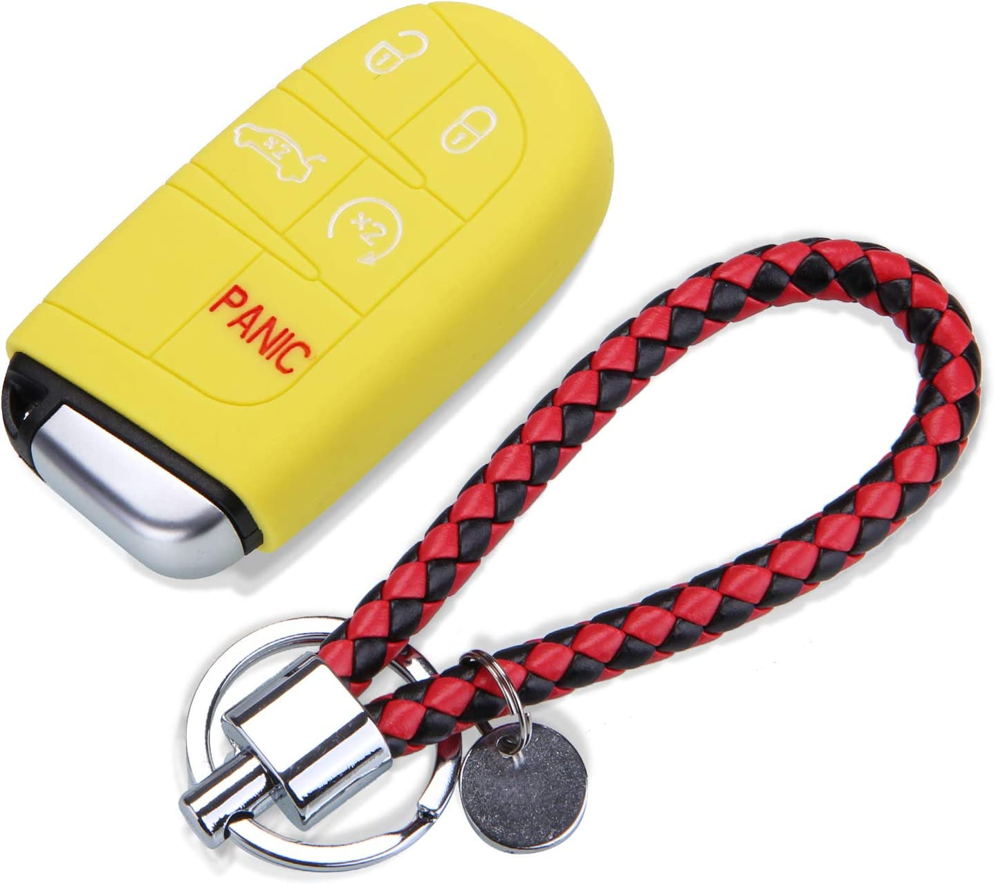 YELLOW Silicone Car Key Cover Case Fob and Key Chain for Jeep Renegade Compass Grand Cherokee for Chrysler 300c Wrangler Dodge Car Accessaries